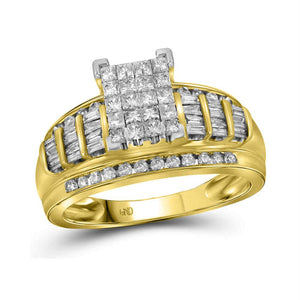 14kt Yellow Gold Womens Princess Diamond Cluster Bridal Wedding Engagement Ring 1.00 Cttw - Size 10