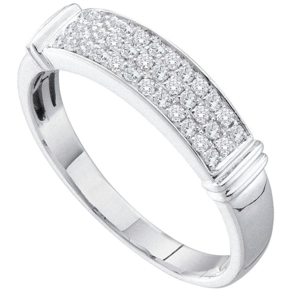 14kt White Gold Womens Round Diamond Triple Row Band Ring 1/3 Cttw