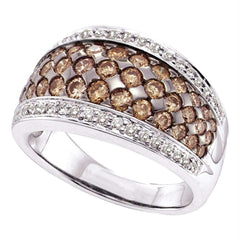 14kt White Gold Womens Round Brown Diamond Fashion Ring 1-1/2 Cttw