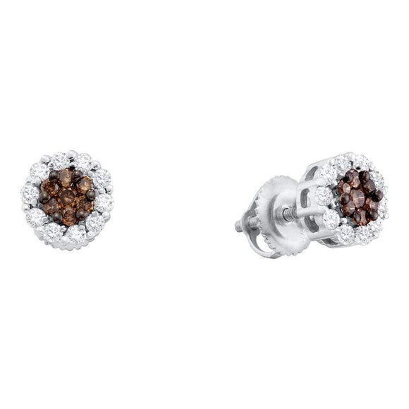 14k White Gold Womens Cognac-brown Color Enhanced Diamond Halo Flower Cluster Screwback Stud Earrings 1-2 Cttw