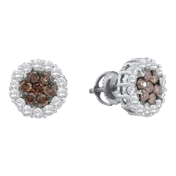 14kt White Gold Womens Round Color Enhanced Brown Diamond Flower Cluster Earrings 1-1-2 Cttw