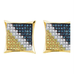 10kt Yellow Gold Mens Round Blue Color Enhanced Diamond Square Kite Earrings 1-20 Cttw