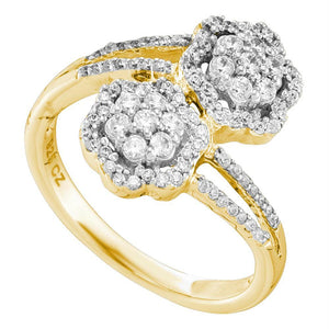 14kt Yellow Gold Womens Round Diamond Double Bypass Flower Cluster Ring 1/2 Cttw