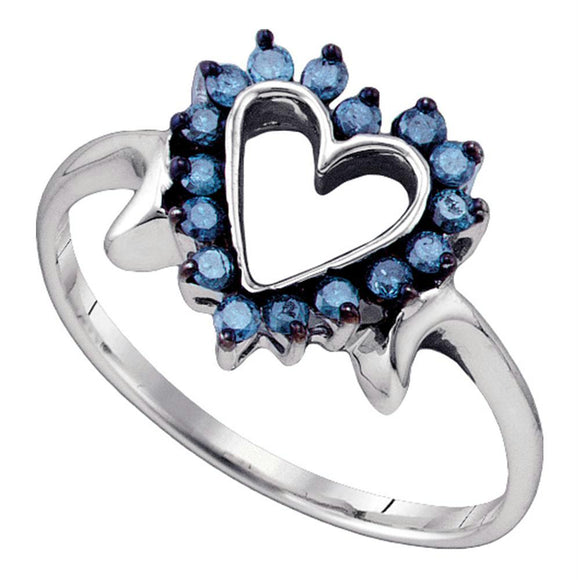 10kt White Gold Womens Round Blue Color Enhanced Diamond Heart Ring 1/4 Cttw