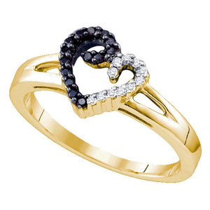 Sterling Silver Black Color Enhanced White Diamond Yellow-tone Heart Ring 1/6 Cttw