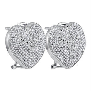 Sterling Silver Womens Round Diamond Heart Omega-back Earrings 1.00 Cttw
