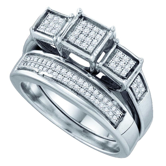 Sterling Silver Womens Diamond Triple Cluster Bridal Wedding Engagement Ring Band Set 1-3 Cttw
