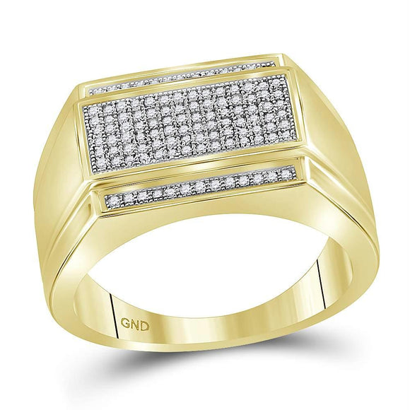 Yellow-tone Sterling Silver Mens Round Diamond Rectangle Cluster Ring 1/3 Cttw