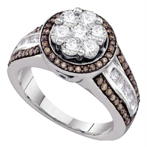 10kt White Gold Womens Round Brown Color Enhanced Diamond Flower Cluster Ring 1-3/8 Cttw