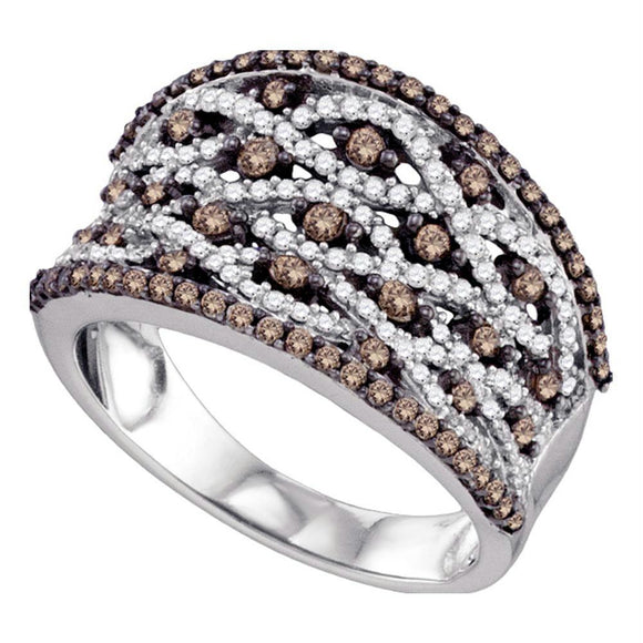 10kt White Gold Womens Round Cognac-brown Color Enhanced Diamond Stripe Fashion Ring 1.00 Cttw