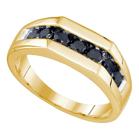 10kt Yellow Gold Mens Round Black Color Enhanced Diamond Wedding Band Ring 1.00 Cttw