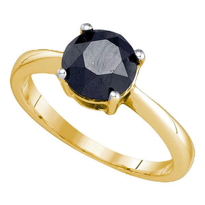 10kt Yellow Gold Round Black Color Enhanced Diamond Solitaire Bridal Wedding Engagement Ring 2.00 Cttw