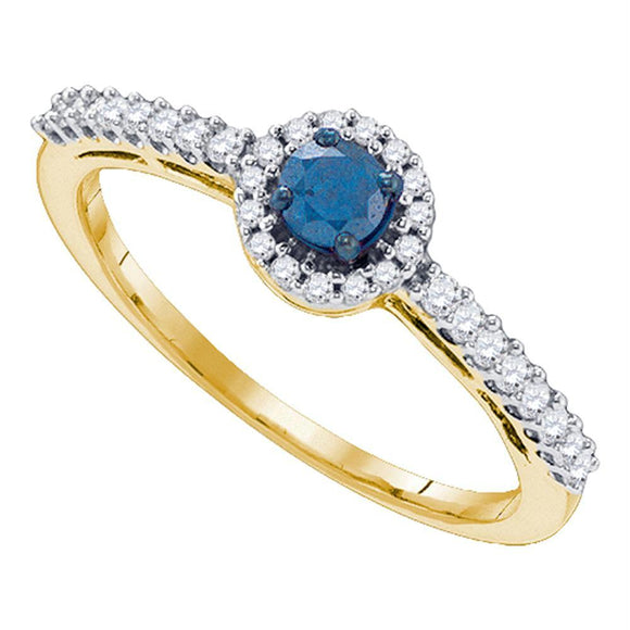 10kt Yellow Gold Womens Round Blue Color Enhanced Diamond Solitaire Halo Bridal Wedding Engagement Ring 3/8 Cttw