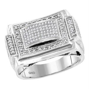 10kt White Gold Mens Round Diamond Domed Rectangle Frame Cluster Ring 1/2 Cttw