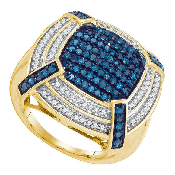 10kt Yellow Gold Womens Round Blue Color Enhanced Diamond Corner Cluster Frame Ring 3/4 Cttw