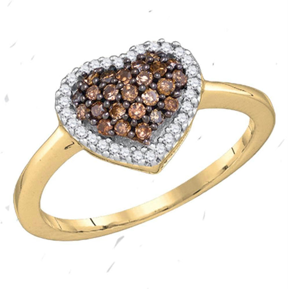 10kt Yellow Gold Womens Round Cognac-brown Color Enhanced Diamond Heart Ring 1/3 Cttw