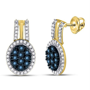 10kt Yellow Gold Womens Color Enhanced Blue Diamond Oval Cluster Earrings 3-4 Cttw