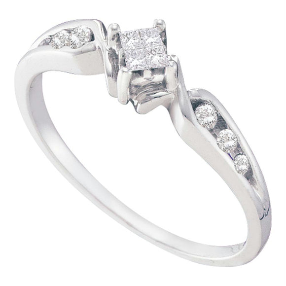 14kt White Gold Womens Princess Diamond Solitaire Bridal Wedding Engagement Ring 1/6 Cttw