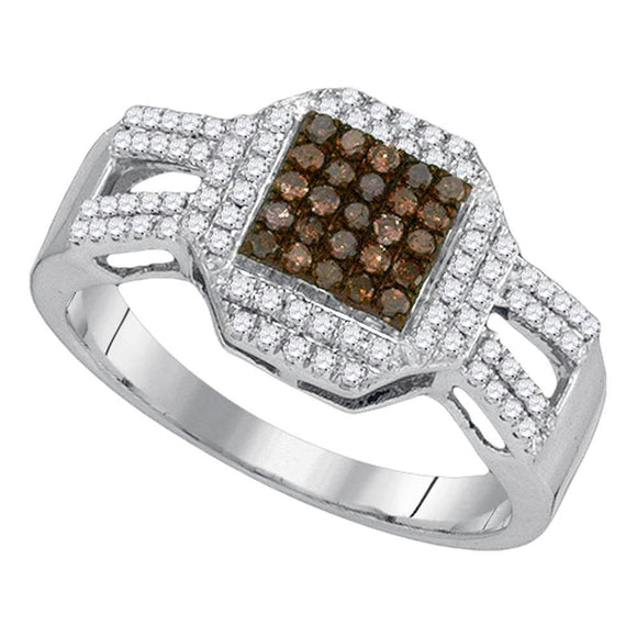 10kt White Gold Womens Round Cognac-brown Color Enhanced Diamond Square Cluster Ring 3/8 Cttw