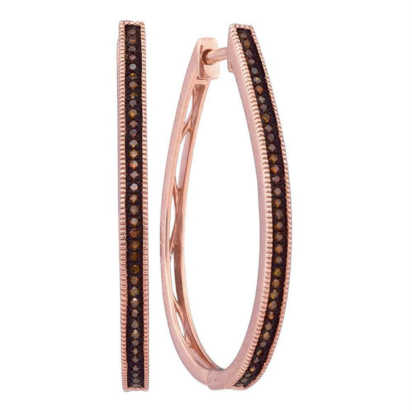 10k Pink Rose Gold Red Color Enhanced Diamond Womens Slender Large Unique Hoop Earrings 1-4 Cttw