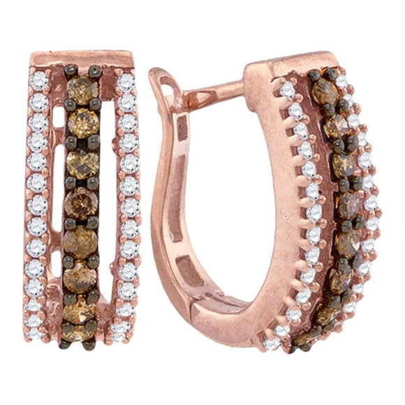10k Rose Gold Cognac-brown Color Enhanced White Diamond Womens Pave Hoop Earrings 1-2 Cttw