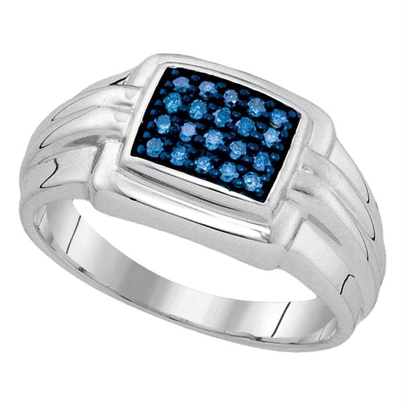Sterling Silver Mens Round Blue Color Enhanced Diamond Cluster Ring 1/4 Cttw