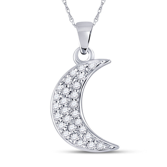 10kt White Gold Womens Round Diamond Crescent Moon Fashion Pendant 1-8 Cttw