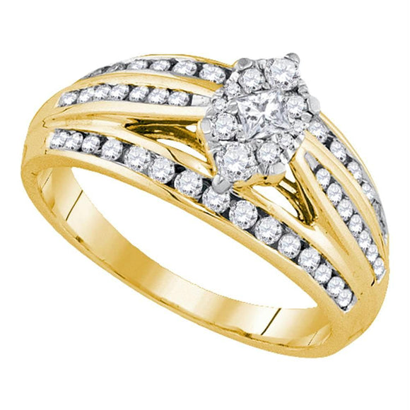14kt Yellow Gold Womens Princess Diamond Cluster Bridal Wedding Engagement Ring 5/8 Cttw