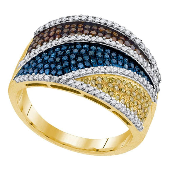 10kt Yellow Gold Womens Round Multicolor Enhanced Diamond Striped Fashion Ring 3/4 Cttw