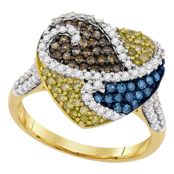10kt Yellow Gold Womens Round Blue Cognac-brown Yellow Color Enhanced Diamond Heart Ring 1.00 Cttw