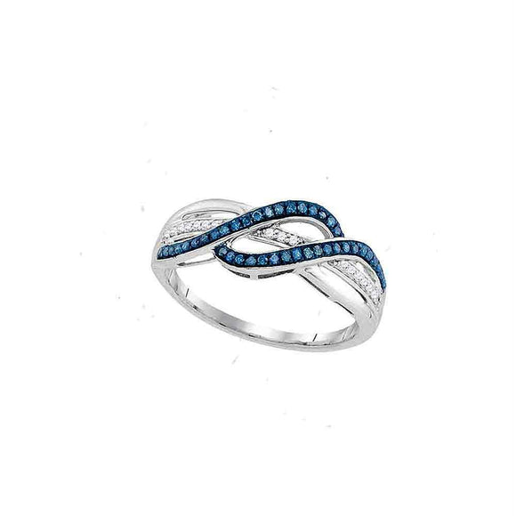 10kt White Gold Womens Round Blue Color Enhanced Diamond Double Row Crossover Band 1/5 Cttw