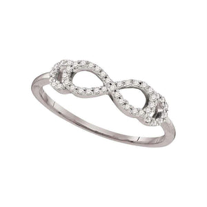 10kt White Gold Womens Round Diamond Infinity Band Ring 1/8 Cttw