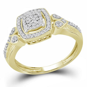 10kt Yellow Gold Womens Round Diamond Square Halo Cluster Ring 1/5 Cttw