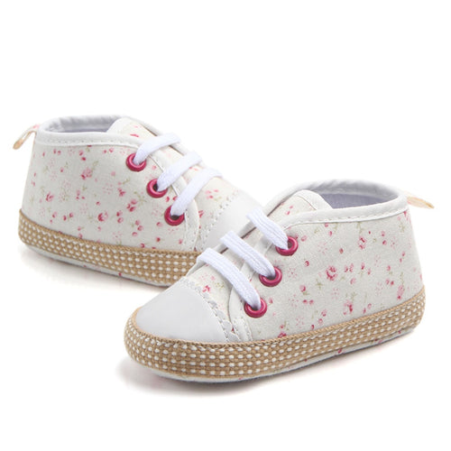 Off White Floral Design Baby Trainers