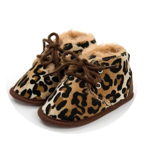 Cosy Leopard Print Baby Boots