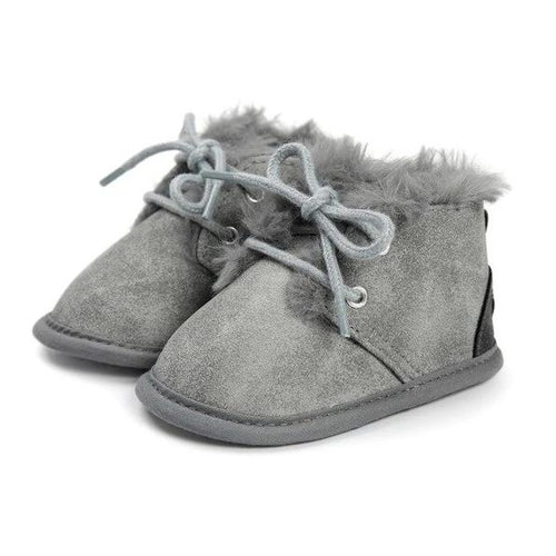 Cosy Soft Grey Baby Boots