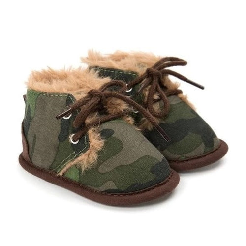 Cosy Camouflage Print Baby Boots