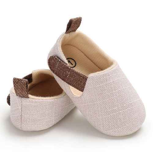 Stylish Cotton Blend Baby Shoes With Velcro Strap