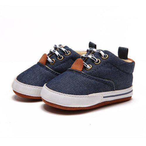 Stylish Suede & Denim Baby Sneakers
