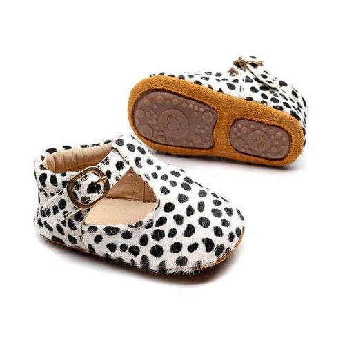 Snow Leopard Print T-Bar Style Baby Shoes