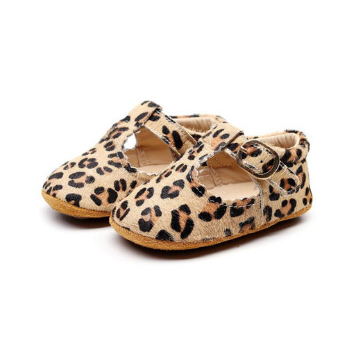 Amur Leopard Print T-Bar Style Baby Shoes