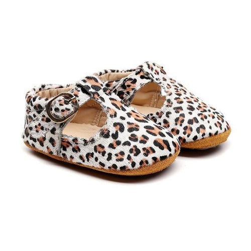 Arabian Leopard Print T-Bar Style Baby Shoes