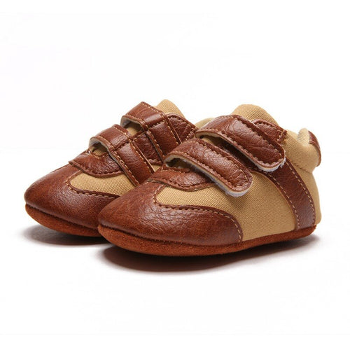 Fashionable Dual Strap Leather Baby Trainers