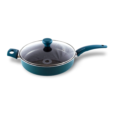 4-Qt Non-Stick Aluminum Sauté Pan with Helper Handle and Lid