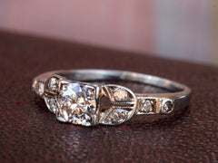1930s Art Deco 0.42ct Old European Cut Diamond Engagement Ring