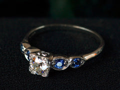 1940s 0.44ct Diamond and Sapphire Engagement Ring