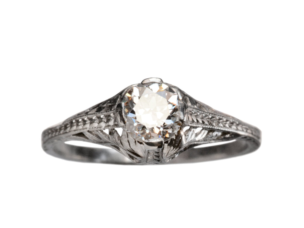 1920s Art Deco 0.53ct Filigree Engagement Ring