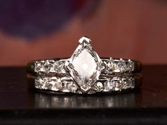 1960s Rhombic Diamond Engagement Ring Set