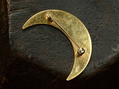 1980s Gold Crescent Brooch