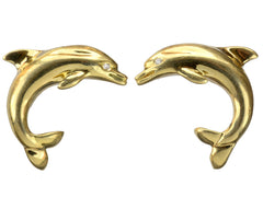 Vintage 18K Dolphin Earrings